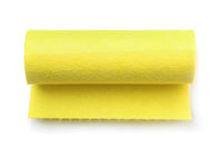Top view of yellow felt fabric roll