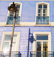 Traditional Portugal tiled building wall
