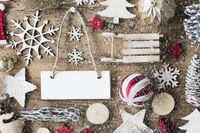 Rustic Christmas Flat Lay, Copy Space, Snowflakes