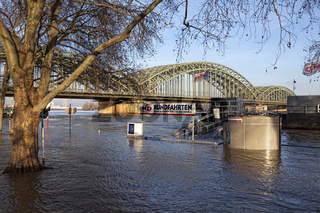 Rhine River during high water, Cologne