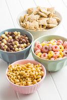 Various breakfast cereals.