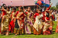 Girls in sari in Assam