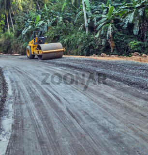 Vibration roller or construction road in jungle