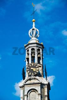 Munttoren Bell Tower, Clock, Amsterdam, Holland, Netherlands.
