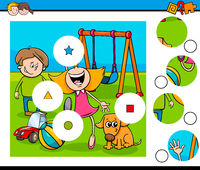 match pieces puzzle with kids on playground
