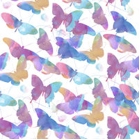 seamless   pattern of watercolor butterflies