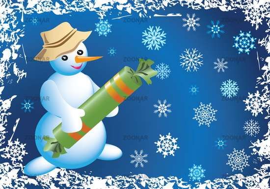 Открытка со снеговиком 12