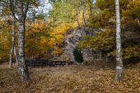 alter Festplatz von Güntersberge im Herbst