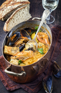 Seafood Stew in Copper Pot
