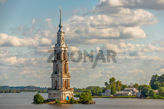 Flooded belfry in Kalyazin, Russia