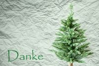 Fir Tree, Creasy Paper Background, Danke Means Thank You