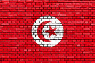 flag of Tunisia painted on brick wall