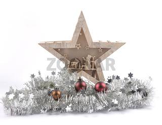 LED Leuchte mit Weihnachtsdekoration auf weiss - LED lamp with christmas decoration on white