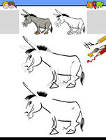 drawing and coloring worksheet with donkey