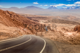Road through the valle de la Luna, Valley of the Moon, west of San Pedro, Atacama desert, Chile