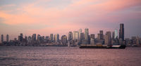 Pink Sunset Cargo Ship Puget Sound Downtown Seattle Skyline