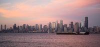 Pink Sunset Cargo Ship Puget Sound Downtown Seattle Skyline