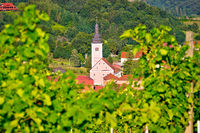 Village of Strigova towers and green landscape through vineyard view