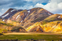 The Landmannalaugar in warm sunlight