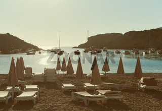 Cala Vadella beach in Ibiza Island. Balearic Islands. Spain