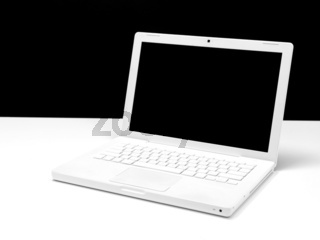 A laptop computer isolaterd against a white background