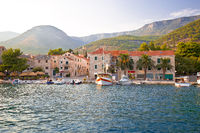 Town of Bol on Brac island waterfront view at sunset