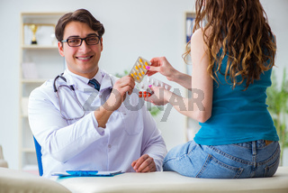Patient visiting doctor for annual regular check-up in hospital