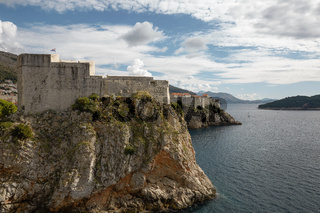 Ancient fortress on the cliff edge of Dubrovnik, Croatia