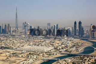 Dubai Downtown Hochhäuser mit Burj Khalifa Luftaufnahme Luftbild