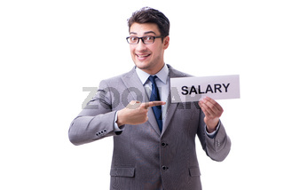 Businessman asking for salary increase isolated on white backgro