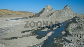 Panorama view to mud volcanoes, Gobustan, Azerbaijan