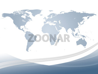 Abstract dynamic background and world map in gradient light blue