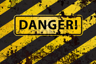 'Danger' on the grunge yellow-black striped  background