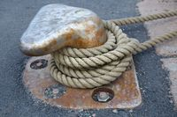Mooring rope tied on a bitts
