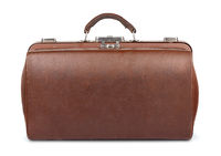 Old brown leather gladstone bag