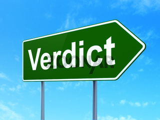 Law concept: Verdict on road sign background