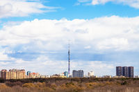 Moscow cityscape with TV tower and park in spring