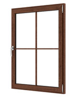 brown wooden window isolated on white background. 3d illustration