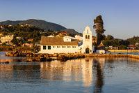Vlacherna Kloster Kirche Korfu Corfu Griechenland Vlachernon Kanoni Insel Reise Meer