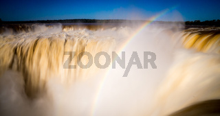 Iguazu Falls Waterfalls in Argentina with rainbow