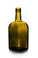 Empty short glass bottle