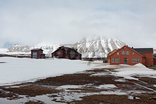 Wooden houses in Ny Alesund, Svalbard islands