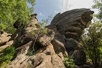 Fanciful rocks on Mount Tserkovka resort Belokurikha in Altai Krai