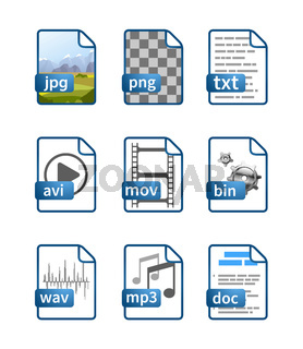 Simple bright blue file icons with extensions isolated on white
