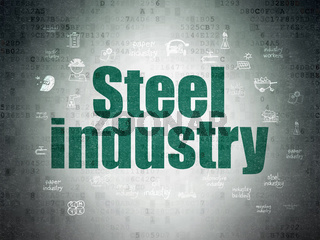 Manufacuring concept: Steel Industry on Digital Data Paper background