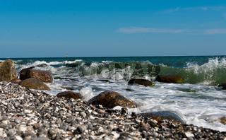 flintstone pebbles at beach
