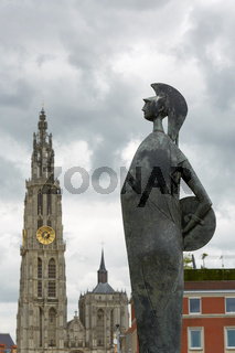 Statue and cathedral in Antwerp in Belgium