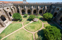 A cloister circumjacent the interior courtyard of Cathedral (Se) of Evora. Portugal