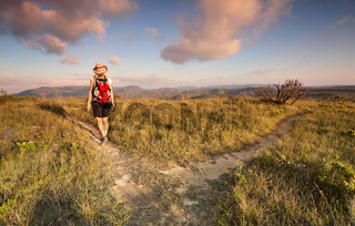 Female bushwalker hiking in the Blue Mountains
