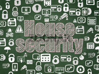 Privacy concept: House Security on School board background